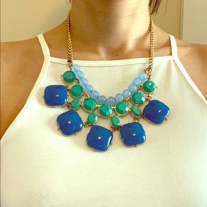 Blue and green beaded statement necklace